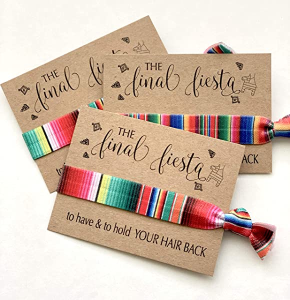 USA SELLER Pack Of 10 The Final Fiesta Bachelorette Hair Tie Party Favors Assorted Serape