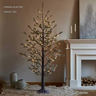 LITBLOOM Lighted Pine Tree with Pliable Branches Snow Dusted 126 LED 6 Feet for Christmas Decoration 24V Safety Voltage Plug in Indoor and Outdoor Use