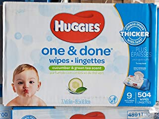 Huggies One and Done Wipes, Cucumber and Green Tea Scent, 56 Count (Pack of 9)