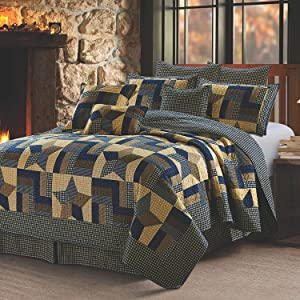 Quilt Bedding Set in Full/Queen by Virah Bella - Woodland Star Printed Lightweight Reversible Quilt with 2 Matching Pillow Shams - Cozy & Beautiful Lodge-Themed Bedding