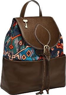 "Fossil Women's Luna Leather Backpack, Blue Multi, 12"" L x 5.63"" W x 14.38"" H"
