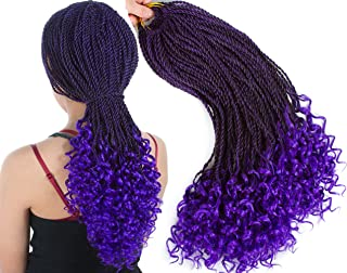 Senegalese Twist Crochet Hair Wave Curly Synthetic Braiding Braids Hair High Temperature Kanekalon Ombre Hair Extensions 6Packs 30Strands/Pack (18, T1B/PURPLE)