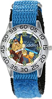 Disney Boy's 'Beauty and Beast' Quartz Plastic and Nylon Watch, Color:Blue (Model: W002920)