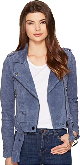 Blank NYC Suede Moto Jacket in Slate Blue