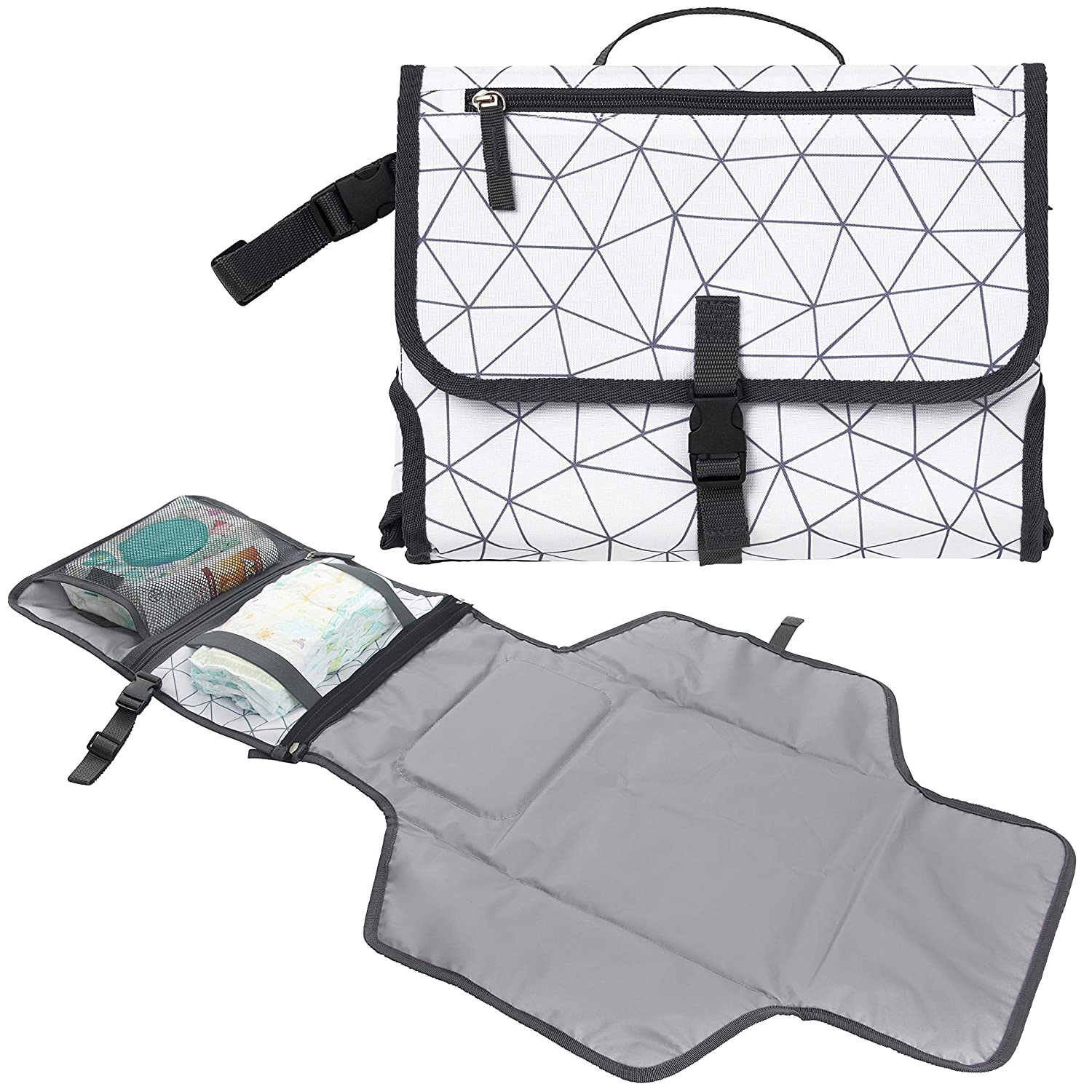 Baby Portable Diaper Changing Pad, Waterproof Travel Changing Mat Station | Built-in Padded Head Rest, Includes Mesh Pockets for Diapers and Wipes, and Adjustable Strap for Strollers