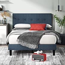 Zinus Omkaram Double Upholstered Fabric Bed Frame | Button Detailed Bed Head, Metal Frame, Strong Wood Slat Support - Navy