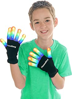 The Noodley's Flashing LED Kids Light Up Gloves Boy Girls Toys for Kids Age 8 9 10 11 12 Year Old Gifts for Boys Games Costumes Party Favors for Kid (Black, Medium)