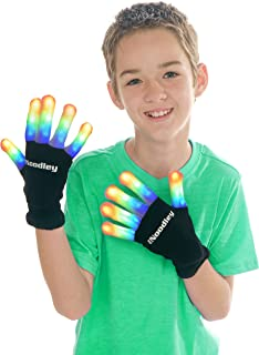 The Noodley Flashing LED Finger Light Gloves with Extra Batteries - Kids and Teen Sized (Medium Ages 8-12, Black)