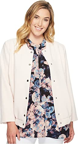 Plus Size Snap Front Blistered Texture Bomber Jacket