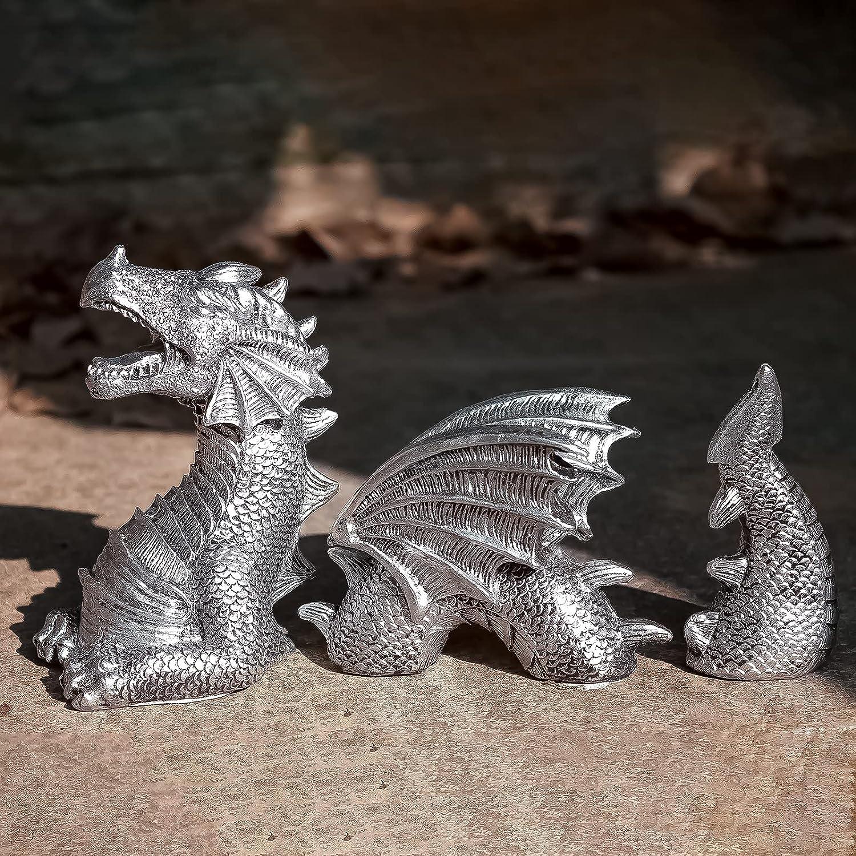 Garden Dragon Statues Decoration, Resin Dragon Sculpture, Garden Decor Art Crafts, Dragon Figure Landscaping Ornament, for Home Indoor Outdoor Garden Courtyard Lawn Yard Gift (White)