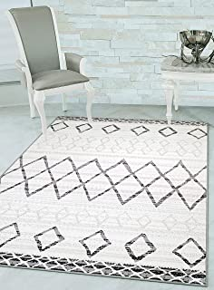 Woven Trends Modern and Contemporary Area Rug, 044 Moroccan Tribal, Extremely Durable and Stain Resistant, Stylish with Non-Skid Rubber Backing (White, 3' x 5' Area Rug)