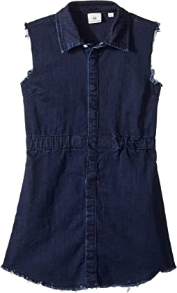 Rosanna Raw Hem Indigo Knit Shirtdress (Big Kids)