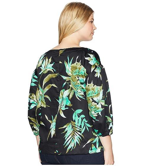 Classic Online Sale Wide Range Of LAUREN Ralph Lauren Plus Size Print Bishop-Sleeve Top Black Multi 3qYXn3dHgG