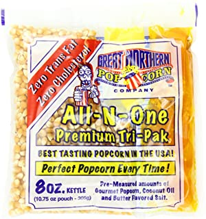 Great Northern Popcorn Company 8 Oz Kettle Premium Popcorn Portion Packs with Gourmet Popcorn Kernels, Coconut Oil, and Bu...