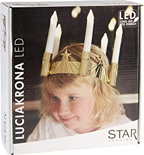 Star LED Luciacrown, 5 Lights Material: Plastic, Colour: Gold/White ca. 17 x 19 cm, Battery Operated Four Colour Box with,