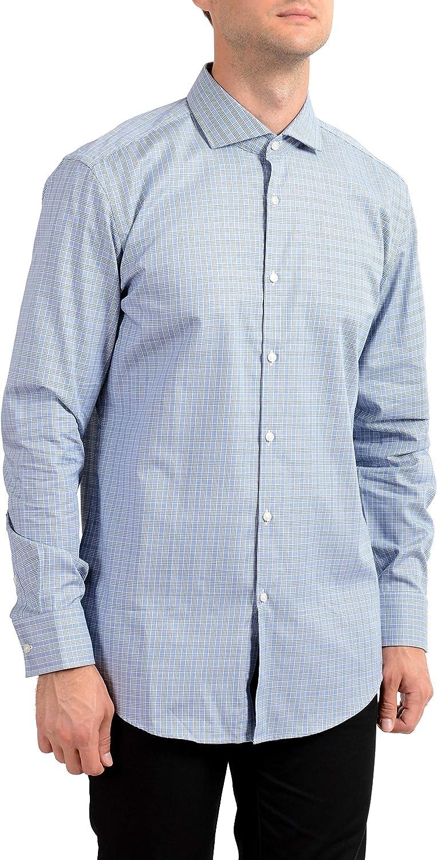 Hugo Boss Men's Jason Slim Fit Plaid Long Sleeve Dress Shirt US 16 IT 41 White/Blue