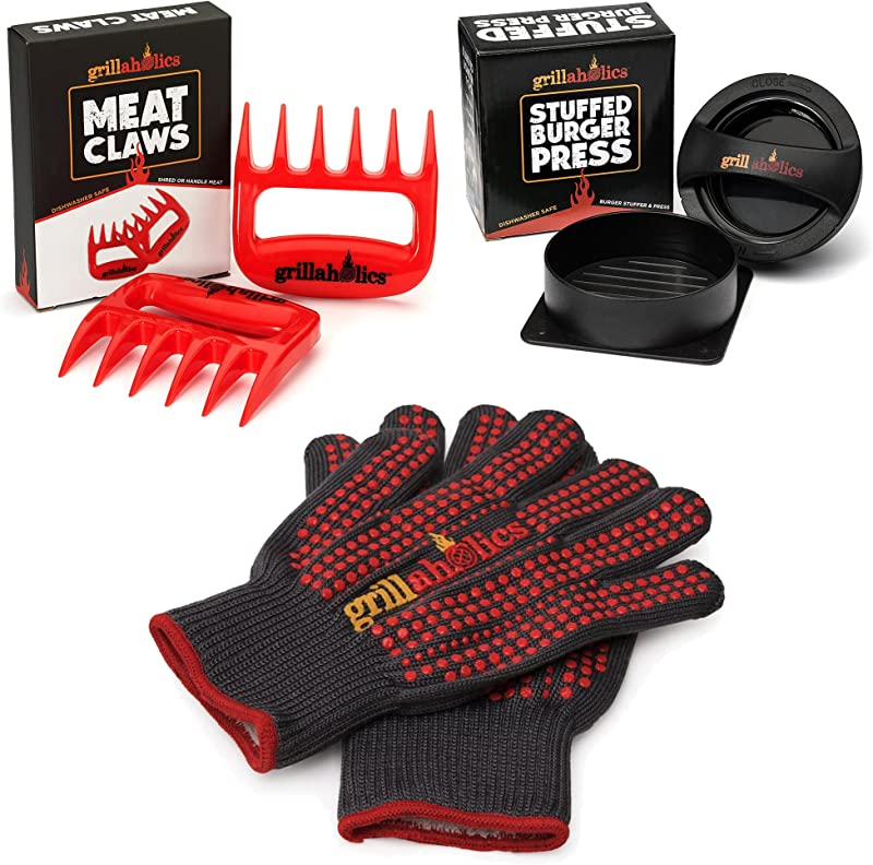 Grillaholics Gift Bundle Includes Premium Stuffed Burger Press Pair Of Heavy Duty Barbecue Gloves And Pair Of Red Meat Claws Perfect Grilling Accessories Package