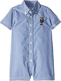 Bear Gingham Cotton Shortall (Infant)
