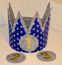 Der Wollprinz corona de cumpleaños, corona para bebe y niño de fieltro y tela azul con estrellas en blanco y los números 1,2,3, 4