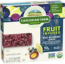 Cascadian Farm Organic, Wild Blueberry Lemon Chewy Granola Bars, 5 Count, 6.2 oz