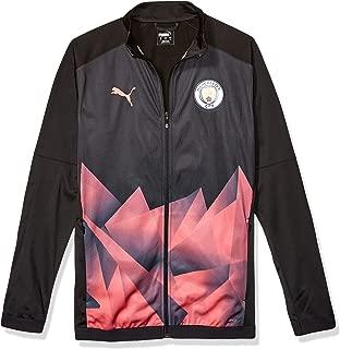 PUMA Men's Standard Manchester City MCFC Stadium INT Jacket, Black-Georgia Peach, L