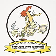 3dRose Funny Worlds Greatest Administrative Assistant Cartoon - Greeting Cards, 6 x 6 inches, set of 12 (gc_102916_2)