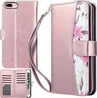 UrbanDrama for iPhone 7 Plus Case, iPhone 8 Plus Case, Floral Flip Wallet Folio Cover PU Leather Kickstand Credit Card Slot Holder Protective Case for iPhone 7 Plus, 8 Plus 5.5 Inches, Rose Gold