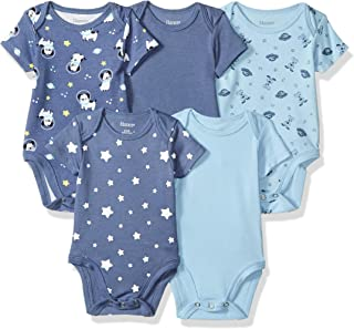 Hanes Ultimate Baby Flexy 5 Pack Short Sleeve Bodysuits, Sky, 18-24 Months