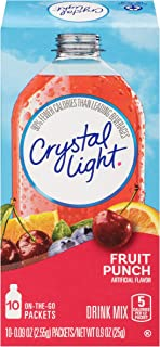 Crystal Light Sugar Free Fruit Punch Powdered Drink Mix, Caffeine Free, 0.09 oz , (10 count/pack) , pack of 6