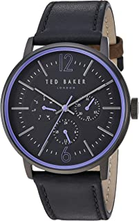 Ted Baker Male 'Jason' Stainless Steel Quartz Watch with Black Strap, Leather, 22 (Model: TE15066007)