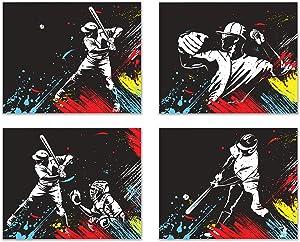 Baseball Vector Wall Art Decor Prints - Set of 4 (8x10) Inch Unframed Poster Photos - Kids Bedroom - Gift