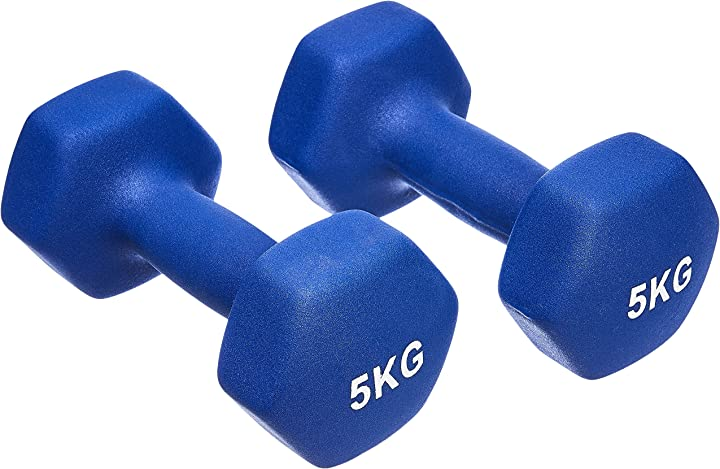 Coppia di manubri in neoprene, amazon basics 2 x 5 kg, blu IR92004-2X5kg