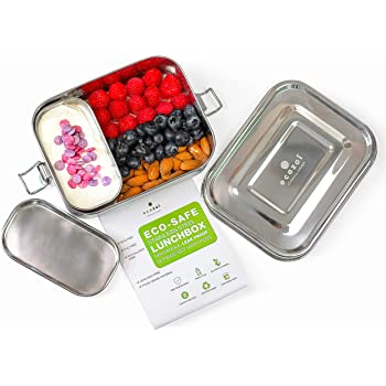 Ecozoi Leak Proof Stainless Steel 1-tier Eco Lunch Box Metal Bento Box | Bonus Pod And Redesigned Silicone Seal | Sustainable Zero Waste Eco Friendly Food Storage Container