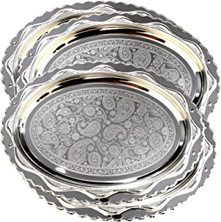 Maro Megastore (Pack of 4) 14.6 Inch x 11 Inch Oval Floral Engraved Chrome Plated Serving Tray Decorative Style Holiday Wedding Birthday Buffet Party Dessert Food Wine Mirror Platter