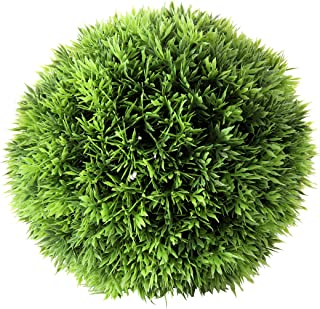 WHW Whole House Worlds Grammercy Grass Ball, 7 Inch Diameter, Lush Green, Topiary Bowl Filler Greenery Globe, Faux New Growth Texture, Reproduction, Plastic