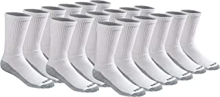 Dickies Men's Multi-Pack Dri-Tech Moisture Control Crew Socks, White (18, Shoe 6-12 Size: 10-13)