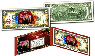 YEAR of the PIG - Chinese Zodiac Official $2 U.S. Bill RED POLYCHROME Edition