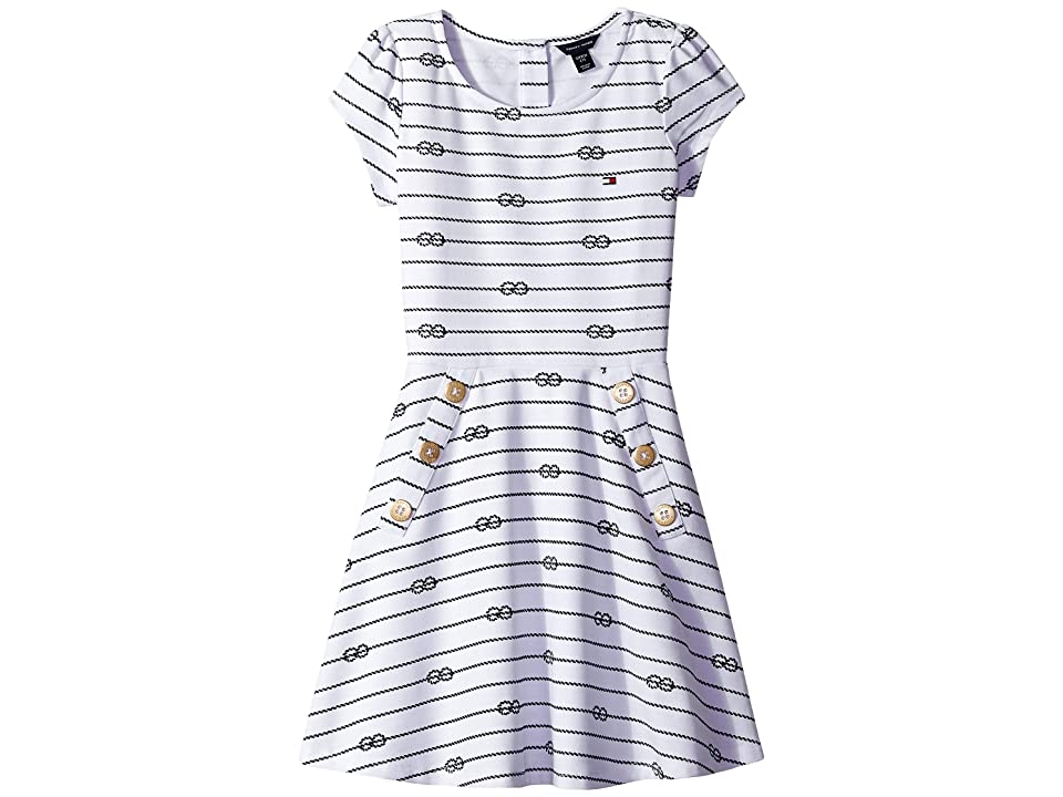 Tommy Hilfiger Kids Short Sleeve Printed Pique Dress (Big Kids) (White) Girl