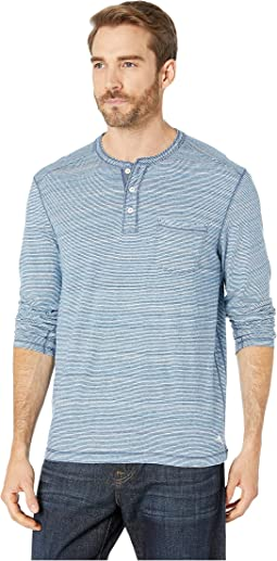 Indigo Stripe Palms Henley Long Sleeve