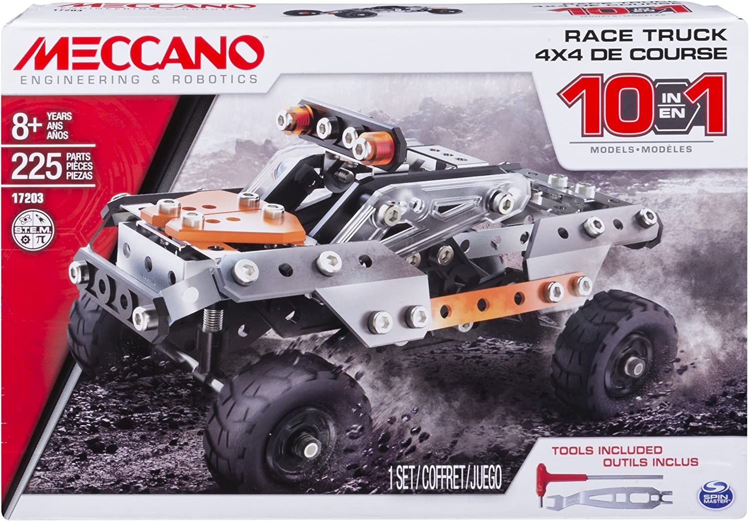 Erector by Meccano, 10 in 1 Model Race Truck Building Set, 225 Pieces, For Ages 8 and up, STEM Construction Education Toy