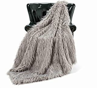 HT&PJ Luxury Faux Fur Throw Blanket Plush Long Shaggy Super Soft Throw Mongolian Fluffy Fur Style Blanket for Living Room (779A Grey 50