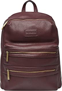 The Honest Company City Backpack, Mulberry | Sturdy Vegan Leather Backpack | Diaper Bag | Changing Pad with Zippered Pocket | Unisex Backpack | Stylish & Functional