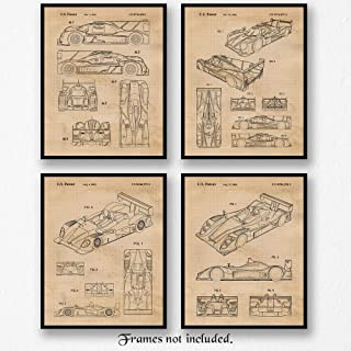 Original Porsche Racing Patent Poster Prints, Set of 4 (8x10) Unframed Photos, Great Wall Art Decor Gifts Under 20 for Home, Office, Garage, Man Cave, Shop, College Student, Teacher, IMSA & F1 Fan