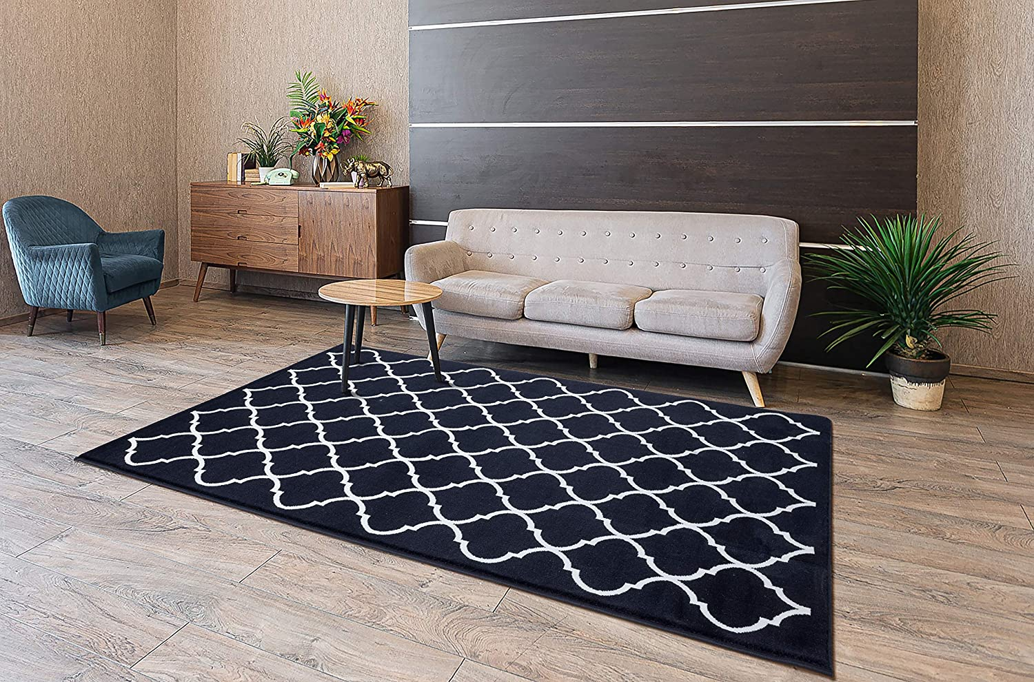 Soft Touch Modern Geometric Design Navy ft 5 White Rugs Spring new work one after another Area Quality inspection