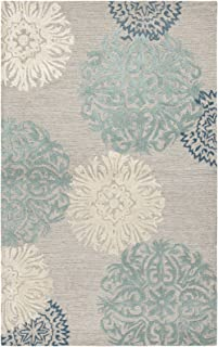Rizzy Home Dimensions Collection Wool Area Rug, 3' x 5', Blue/Gray/Rust/Blue Medallion