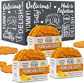 Proudly Pure Parmesan Cheese Crisps - Keto Snacks Zero Carb Crunchy Delicious Healthy 100% Natural Aged Cheesy Parm Chips Wheat & Gluten Free Keto Crackers Low Carb Snacks (Original, 3 Pack)