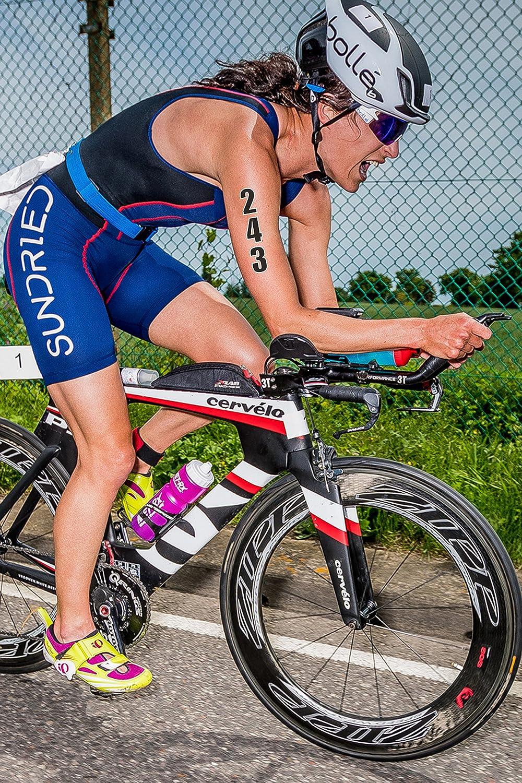 Sundried Dorsal Tatuaje Temporal fijado para el Triatlón Ironman Piscina Aquathlon Aquabike (10 números por Paquete)