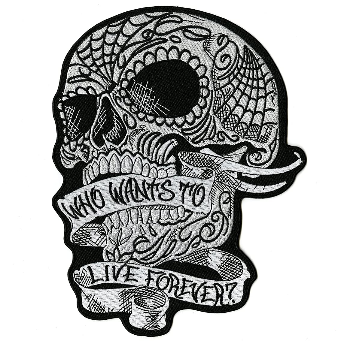 Sugar Skull Patch | Who Wants to Live Forever | Iron On Embroidered Motorcycle Large - by Nixon Thread Co. (10