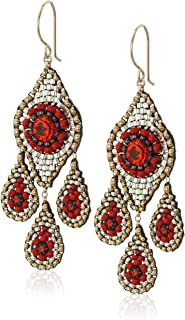 Miguel Ases Small Red Chandelier Raised Swarovski Chandelier Drop Earrings