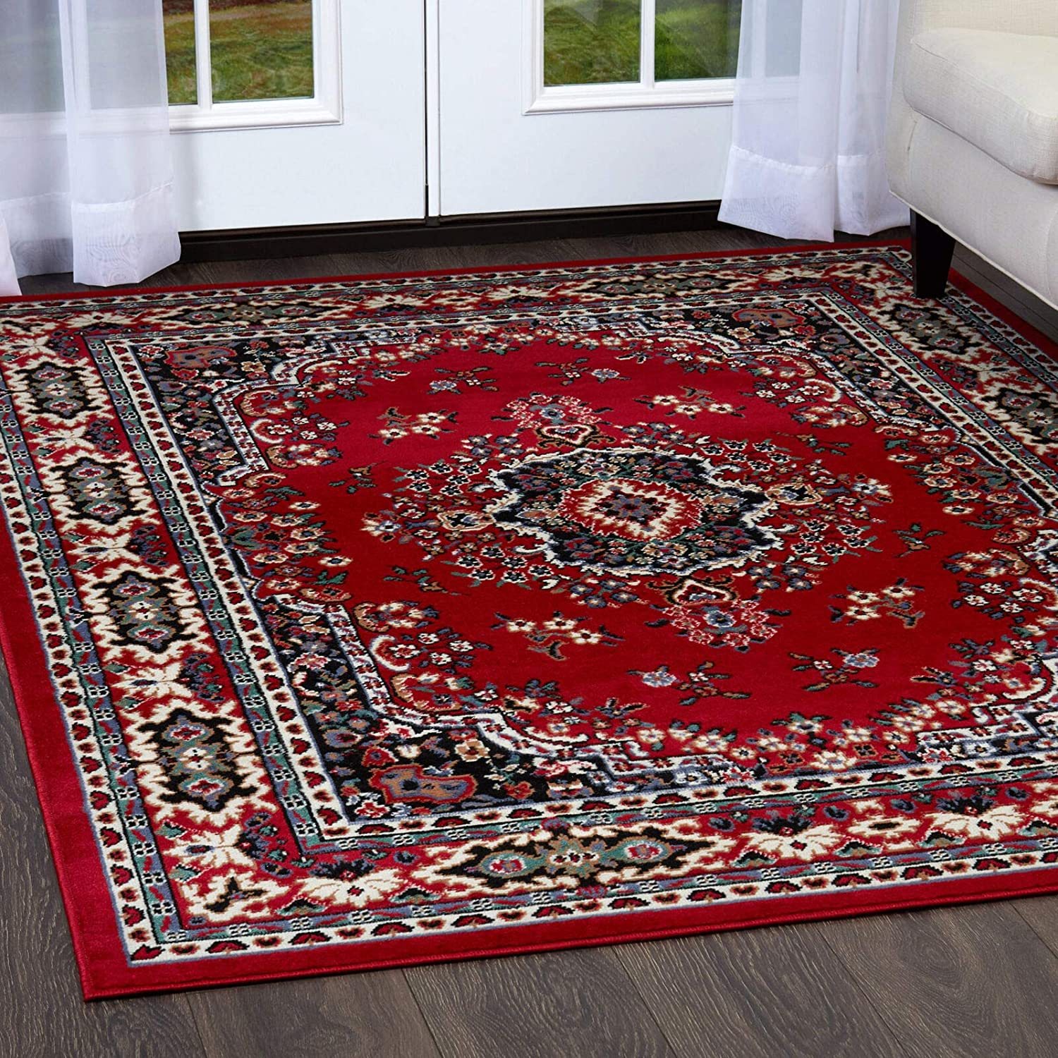 Red Traditional Max 81% OFF Oriental Medallion Area Carpet Rug 35% OFF Style Persien